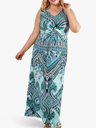 Yumi Curves Scarf Print Maxi Dress, Blue