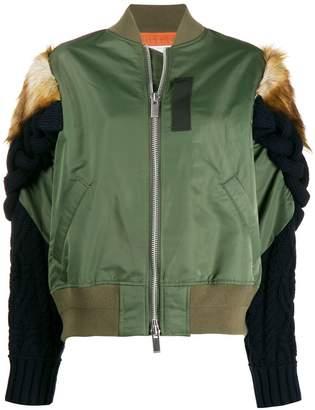 Sacai knitted sleeve bomber jacket