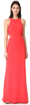 Halston Round Neck Gown with Back Cutout