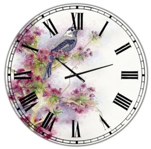 "Design Art Designart Cherry Blossom Days Large Cottage Wall Clock - 23"" x 23"" x 1"""