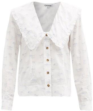 Ganni Ruffled-collar Kitten-print Poplin Blouse - White