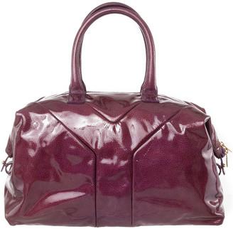 Saint Laurent Purple Patent Leather Y Top Handle Bag