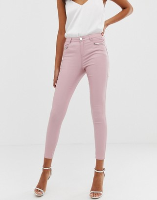 Lipsy coated skinny jeans in pink-Cream