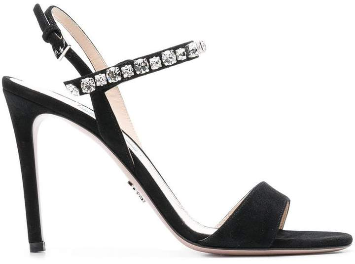 Prada crystal embellished sling-back sandals