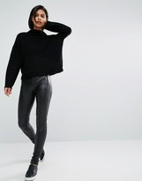 Vero Moda Leather Look Zip Pocket Pant