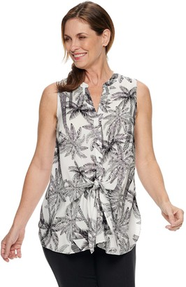 Dana Buchman Women's Sleeveless Tank With Tie Front Detail