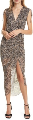 Veronica Beard Teagan Snake Print Ruched Silk Dress