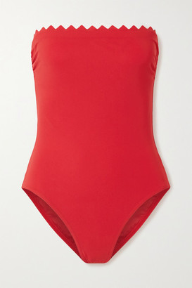 Karla Colletto Ines Scalloped Strapless Swimsuit - Red