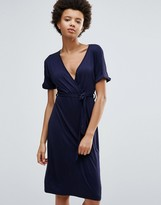 Daisy Street Wrap Front Midi Dress