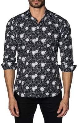 Jared Lang Watch-Print Cotton Button-Down Shirt