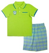 Little Rebels Toddler Boys' Two Piece Set with Polo and Woven Plaid Short - Green