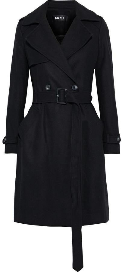 Details about  /DKNY Women/'s Petite Faux-fur-collar Wool Blend Coat