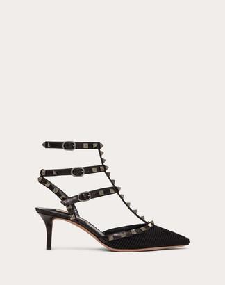Valentino Rockstud Ottoman Fabric Leather Ankle Strap Pump 65 Mm Women Black Lambskin 100% 36