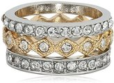 "ABS by Allen Schwartz Rebel Soul"" 3 Piece Pave Set Two Tone/Crystal Stackable Ring, Size 7"