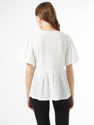 Dorothy Perkins Textured Puff Sleeve Peplum T-shirt - White