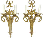 One Kings Lane Vintage Gilt Bronze Ribbon & Wreath Sconces, S/2