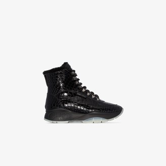 Jimmy Choo black Inca leather sneaker boots