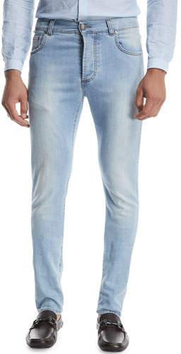 Isaia Dark Wash Straight-Leg Jeans, Blue