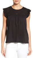 Petite Women's Caslon Eyelet Embroidered Flutter Sleeve Top