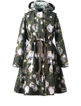 Rainsisters Comfortable Green Waterproof Coat With White Flowers: Matte Peony