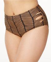 Raisins Curve Plus Size Maharani Printed Cutout Mid-Rise Bikini Bottom Women's Swimsuit