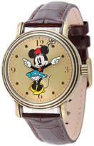Disney Princess Disney Minnie Mouse Womens Brown Leather Strap Watch-W001876