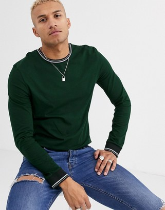 Asos Design DESIGN long sleeve t-shirt with tipping in dark green