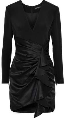 HANEY Crepe-paneled Draped Silk-satin Mini Dress