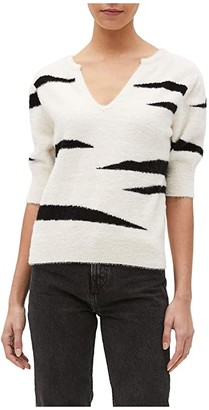 Michael Stars Honey Elbow Sleeve Pullover Sweater (Chalk Combo) Women's Clothing