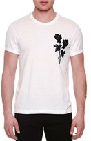 Dolce & Gabbana Rose Embroidery Short-Sleeve T-Shirt, White