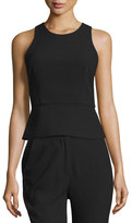 Nicholas Sleeveless Lace-Up-Back Peplum Top, Black
