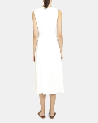 Theory Seamed V-Neck Dress in Good Linen