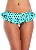 Betsey Johnson Bow Fishnet Skirted Bikini Bottom