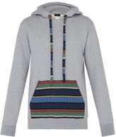Alanui Stripe Pocket Cotton-blend Hooded Sweatshirt - Mens - Grey Multi
