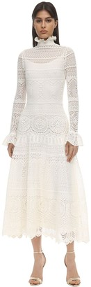 Alexander McQueen Long Lace Macrame Dress W/Ruffles