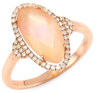 Meira T Diamond, Rose Quartz & 14K Rose Gold Ring