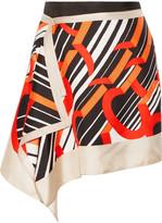 Carven Draped Printed Silk-satin Mini Skirt - Beige