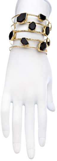 Melinda Maria Gold And Black Onyx Slice Cuff Bracelet