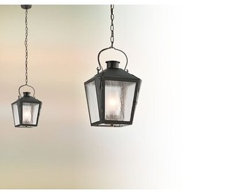 Adeline 1-Light Outdoor Hanging Lantern Longshore Tides Finish: Charred Iron, Bulb Type: Incandescent (100W)