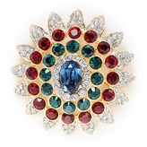 Kenneth Jay Lane Glass crystal gold plated floral brooch