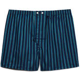 Derek Rose Navy Striped 'Royal 199' Cotton Boxer Shorts