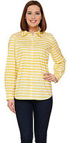 As Is Susan Graver Striped Stretch Cotton Long Sleeve Shirt
