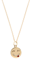 Alison Lou Diamond & yellow-gold Tongue Out Face necklace