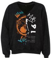 River Island Womens Black splice print choker sweatshirt