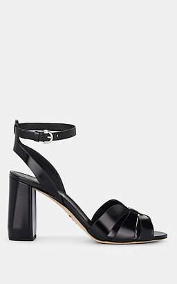 Prada Women's Spazzolato Leather Ankle-Strap Sandals - Nero