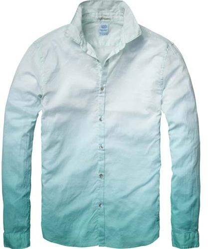 Scotch & Soda Men's Long Sleeve Tie Dye Shirt - Tie Dye Teal