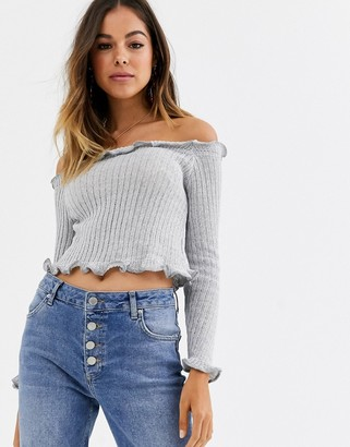 Glamorous cropped jumper with lettuce hem-Grey