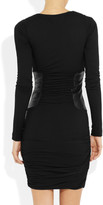 Faith Connexion Leather-paneled ruched jersey dress