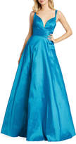 Mac Duggal Plunge V-Neck Sleeveless Ruched Empire-Waist Gown with Pockets