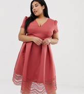 Little Mistress Plus plunge front full prom midi dress with lace hem in terracotta
